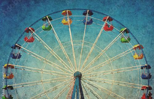 Vintage grunge background with ferris wheel