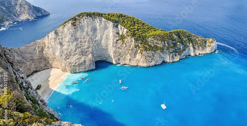 Photo Stands Shipwreck Navagio shipwreck beach, Zakynthos, Greece