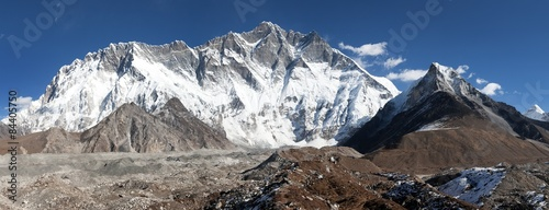 Fototapeta Panoramic view of mount Lhotse and Island Peak