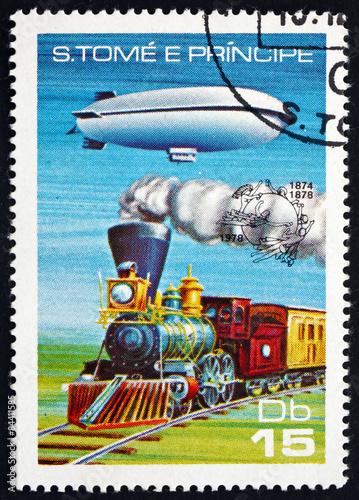 Fotografie, Obraz  Postage stamp Sao Tome and Principe 1978 Dirigible and Steam Loc