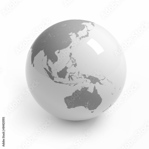Australia Map Globe.World Map Globe Isolated With Clipping Path On White Australia
