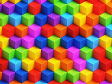 Abstact Colorful Cubes - 3D Geometric Background