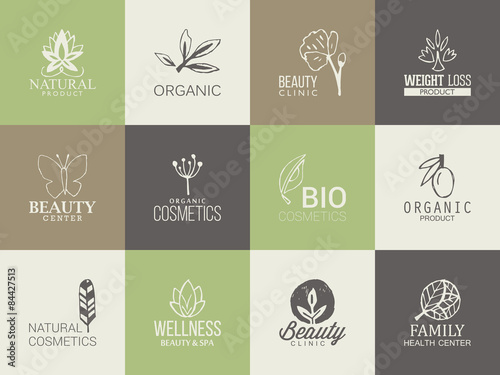 Fotografia  Natural, organic and beauty logo template with hand drawing icon