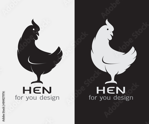 Fotografia, Obraz Vector image of an hen on white background and black background