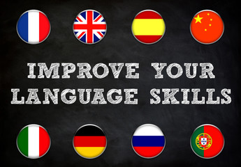 Fototapetaimprove your language skills - blackboard illustration