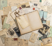 Open Book, Old Letters And Postcards. Travel Memories Scrapbook