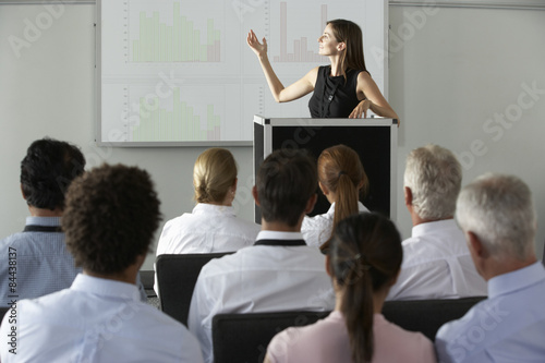 Fotografie, Obraz  Businesswoman Delivering Presentation At Conference