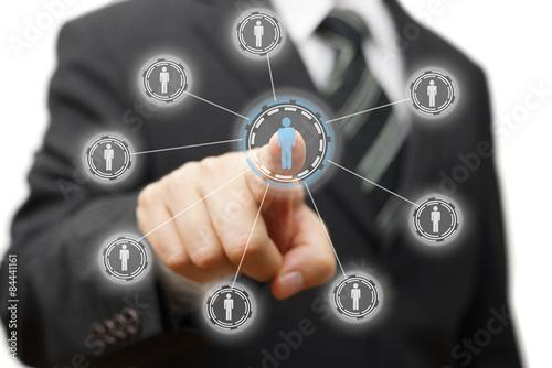 businessman is pressing virtual person, concept of management,st Canvas Print