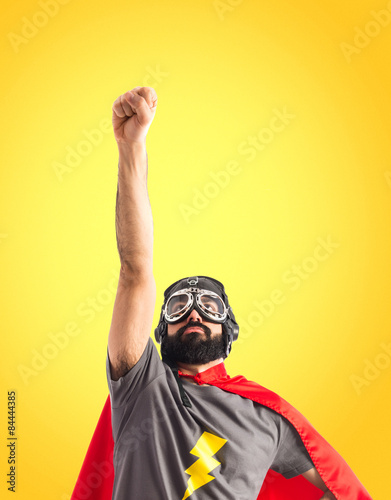 Superhero doing fly gesture