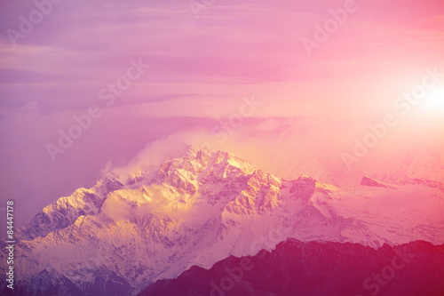 Foto op Aluminium Candy roze sunrise in the mountains