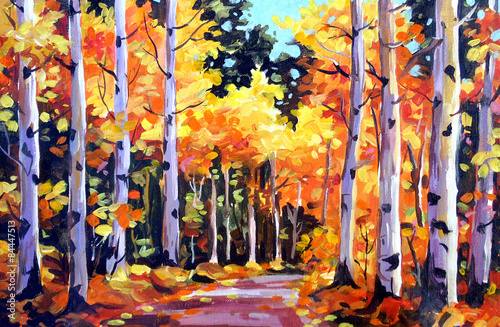 Deurstickers Oranje eclat Beauty of Autumn Forest - Acrylic on Canvas Painting