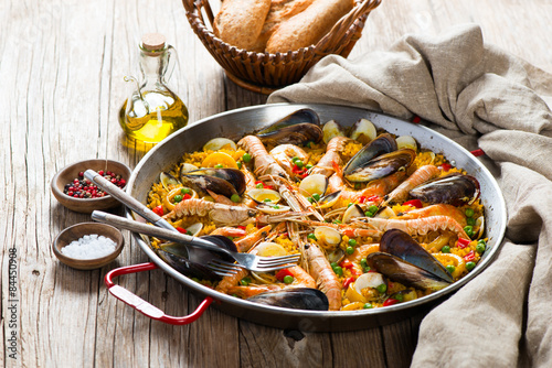 Typical spanish seafood paella Canvas Print