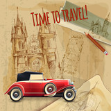 Europe Travel Car Vintage Poster