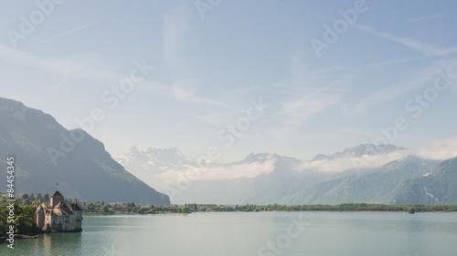 Foto Montreux, Stadt, Genfersee, See, Mont Blanc, Schloss, Alpen, Schweizer Berge, Se