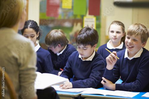 Fotomural  Teacher Teaching Lesson To Elementary School Pupils
