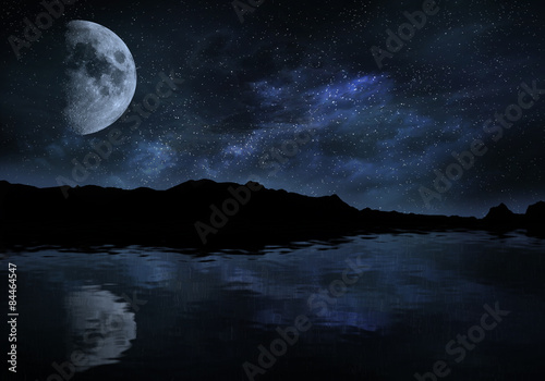 Keuken foto achterwand Bordeaux Night with moon and stars