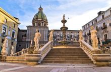 Baroque Fountain On Piazza Pretoria In Palermo, Sicily