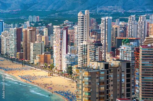 Aerial view of summer resort Benidorm, Spain