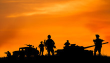 Silhouette Of Military Soldier...