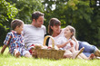 canvas print picture - Family Enjoying Summer Picnic In Countryside