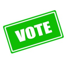 Vote White Stamp Text On Green Background