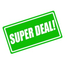 Super Deal White Stamp Text On Green Background
