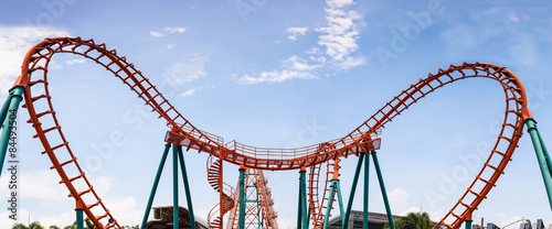 Roller Coaster, rail way curve and spin heart shape as panorama