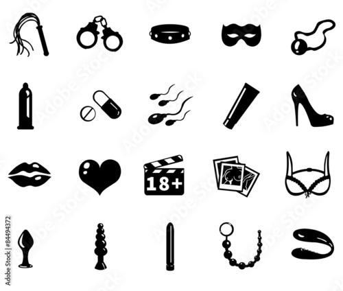 Leinwand Poster vector sex shop icons