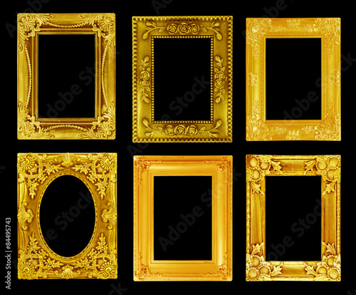 Fototapeta The antique gold frame on the black background obraz na płótnie
