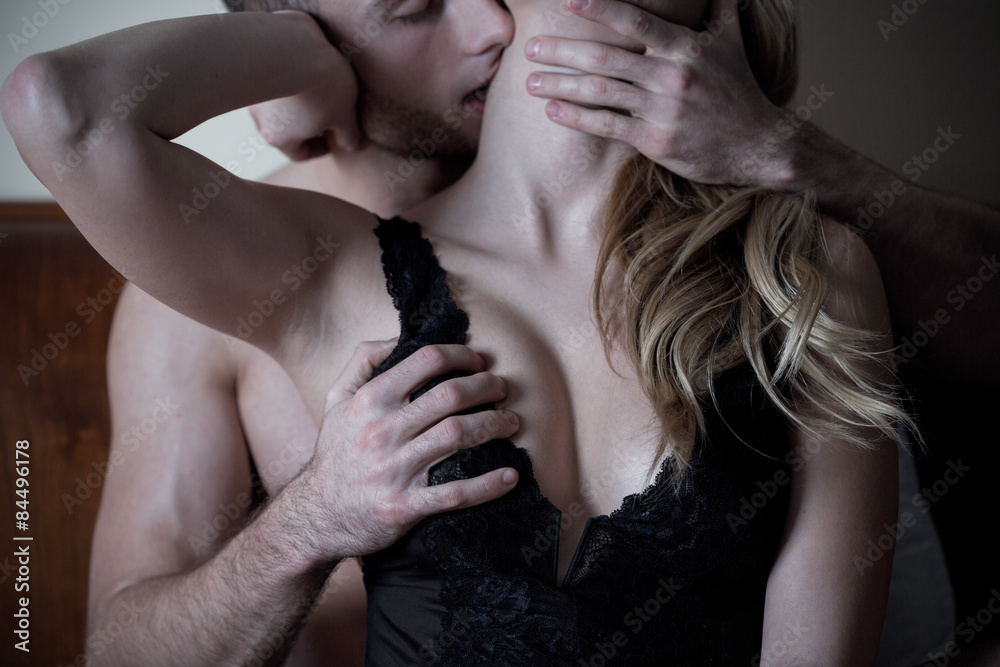 Fototapety, obrazy: Man caresses neck and breast of woman
