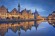 canvas print picture - Ghent. Image of Ghent, Belgium during twilight blue hour.