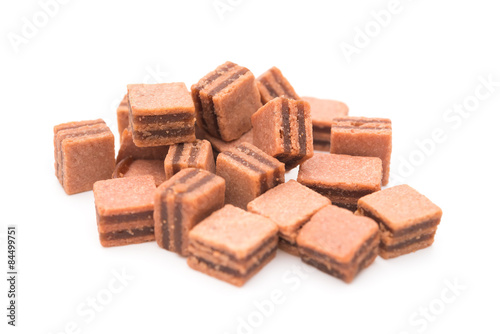 Foto op Aluminium Snoepjes sweet hawthorn blocks on a white background, side view