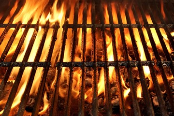 Panel Szklany Do steakhouse Flaming BBQ Charcoal Grill Background