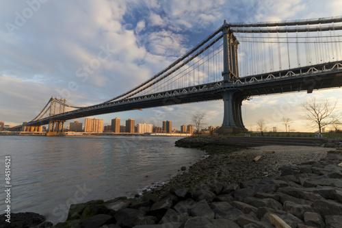 Foto  New York NYC Manhattan Brooklyn bridge sunset