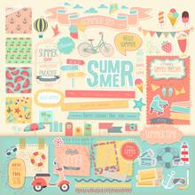 Summer Scrapbook Set - Decorative Elements.