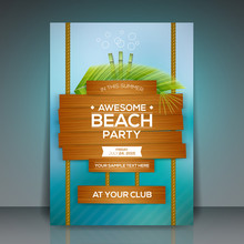 Summer Beach Party Flyer Template - Vector Design
