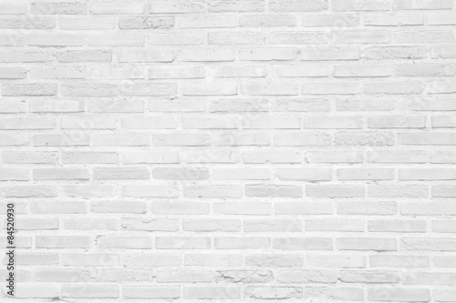 Fotobehang Stenen White grunge brick wall texture background