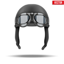 Retro Aviator Pilot Helmet With Goggles. Isolated On White