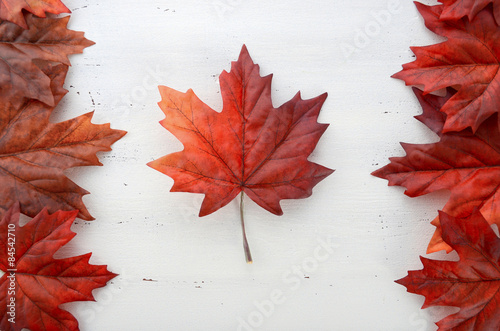 Papiers peints Canada Happy Canada Day red silk leaves in shape of Canadian Flag.