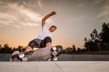 Skateboarder In A Concrete Pool