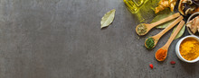 Spices And Herbs In Metal Bowls. Food And Cuisine Ingredients. C