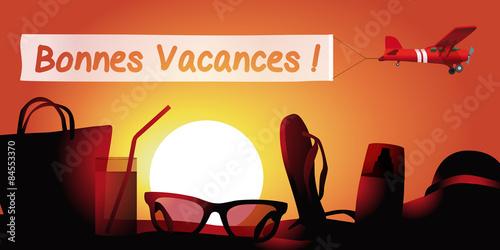 Valokuva  Vacances Plage message-couche de soleil