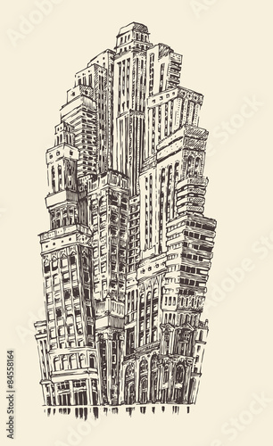 skyscrapers-big-city-architecture-vintage-grawerowane
