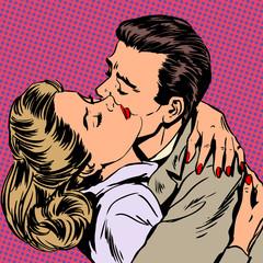 Passion man woman embrace love relationship style pop art retro