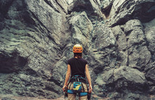 Climber Woman Standing In Fron...