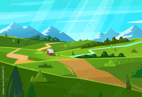 Keuken foto achterwand Turkoois Natural landscape. Vector illustration.
