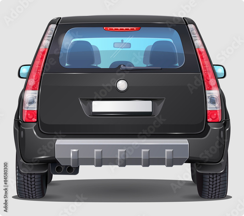 Photo Vector Black Car - Rear view - Visible interior Version