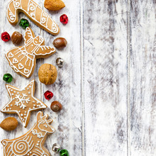 Christmas Gingerbread Cookies On White Table