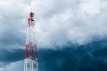 Transmission Tower Against Storm Clouds