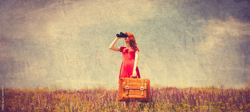 Fototapety, obrazy: girl in red dress with suitcase and binocular